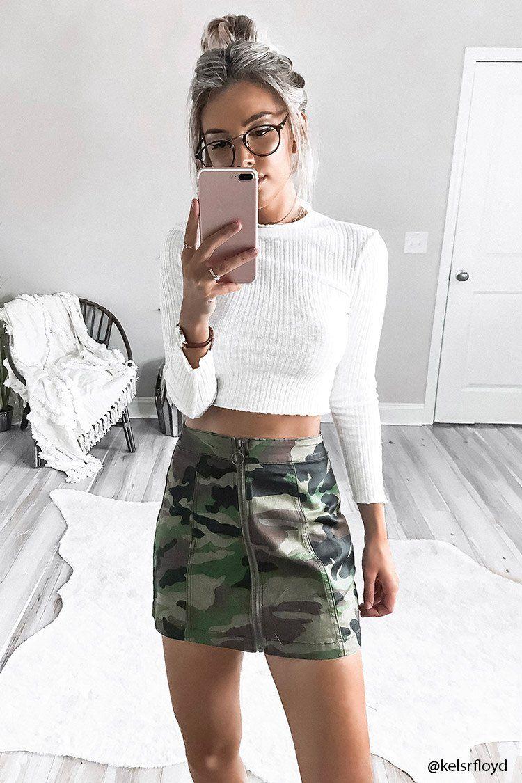 d99b24d7437 Camo Zip-Front Mini Skirt