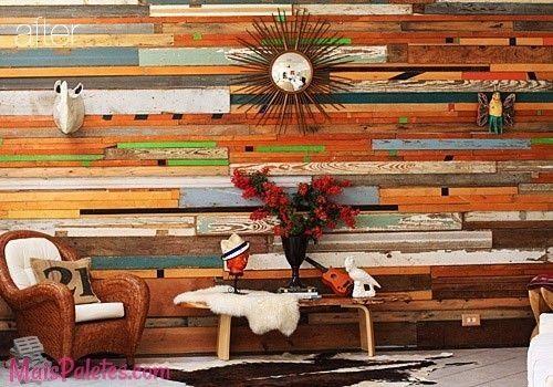Cosas hechas con palets esta vez les toca a las paredes DIY - decoracion con madera en paredes