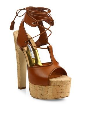 c5c7495907d9 BRIAN ATWOOD Brittany Leather Lace-Up Cork Platform Sandals.  brianatwood   shoes  flats