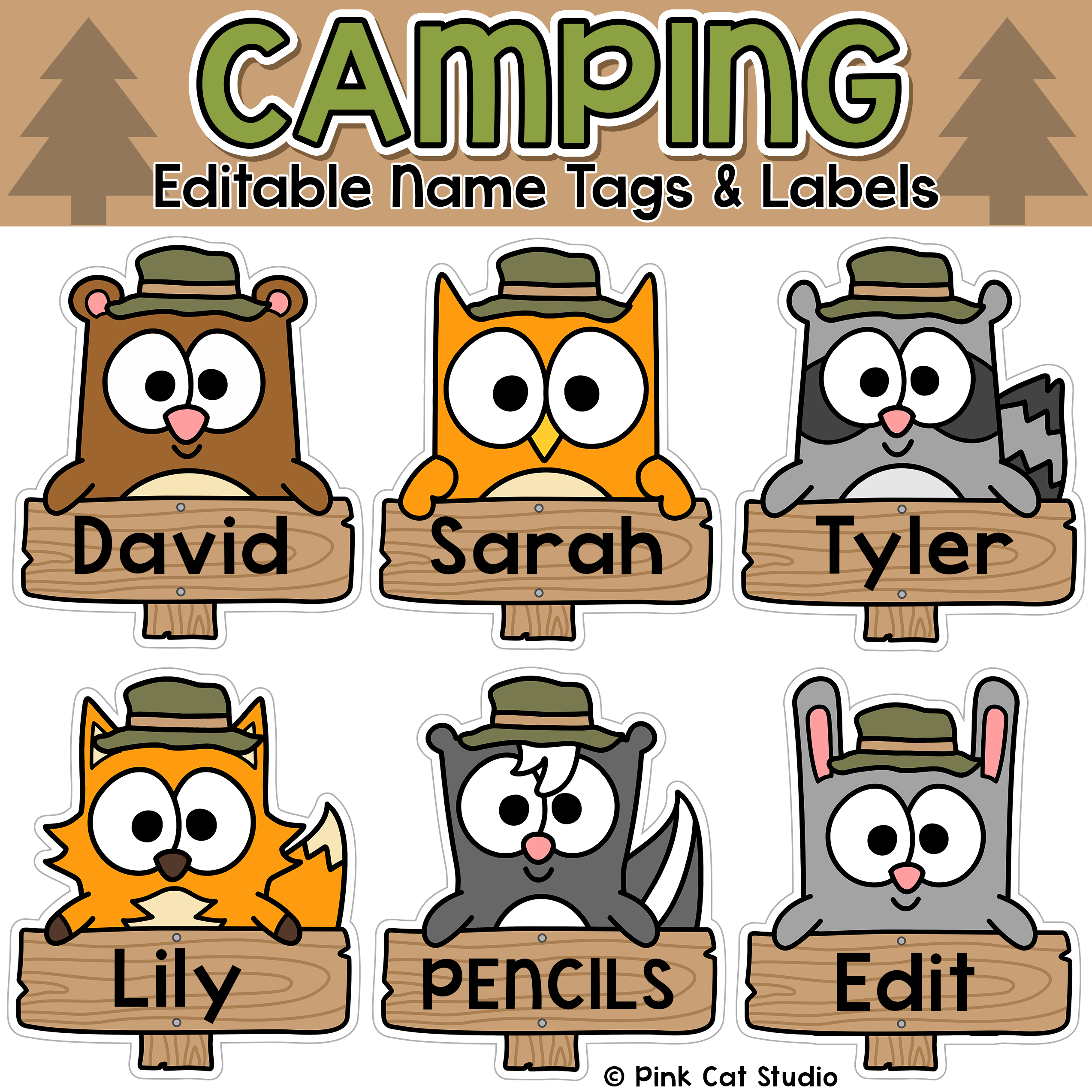 Camping theme classroom decor name tags and labels