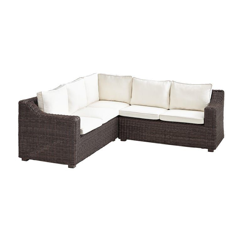 Coral Bay Java Wicker Sectional With Cushions In 2020 Wicker Sectional Sectional Patio Furniture Backyard Furniture