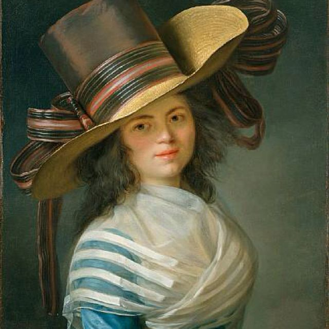 Portrait of a Lady by Jean-Laurent Mosnier, ca 1790  Notice her blue tafetta gown and stylish hat!