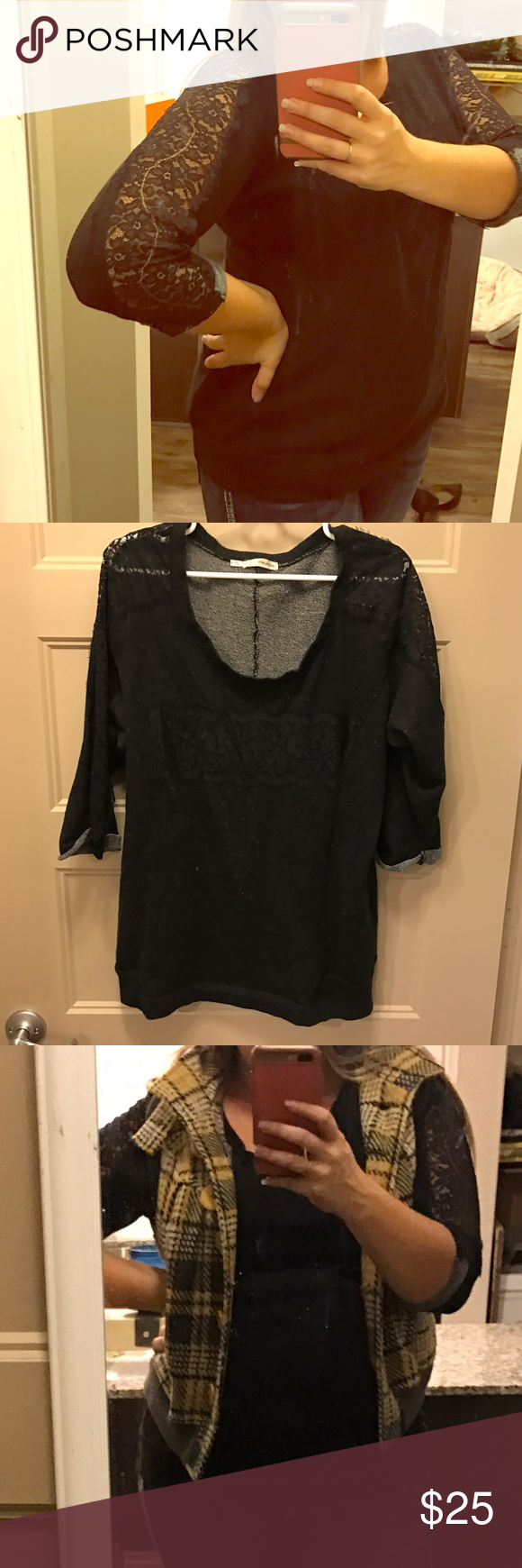 Black Maurices Lace Sweater Black Maurices Lace Sweater Maurices Sweaters Crew & Scoop Necks
