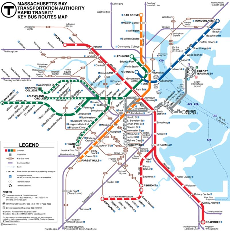 The-T: Boston metro map, United States