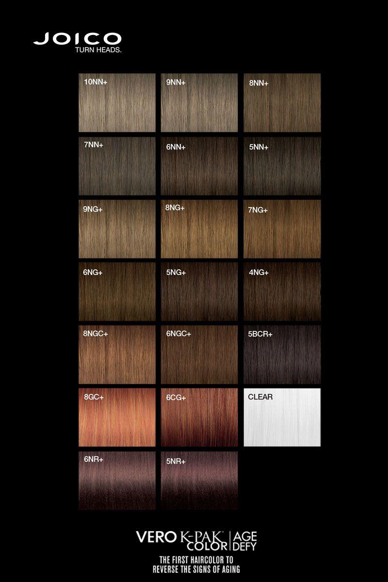 Joico Vero K Pak Age Defy Colour Palette Joico Hair Color Joico Hair Color Chart
