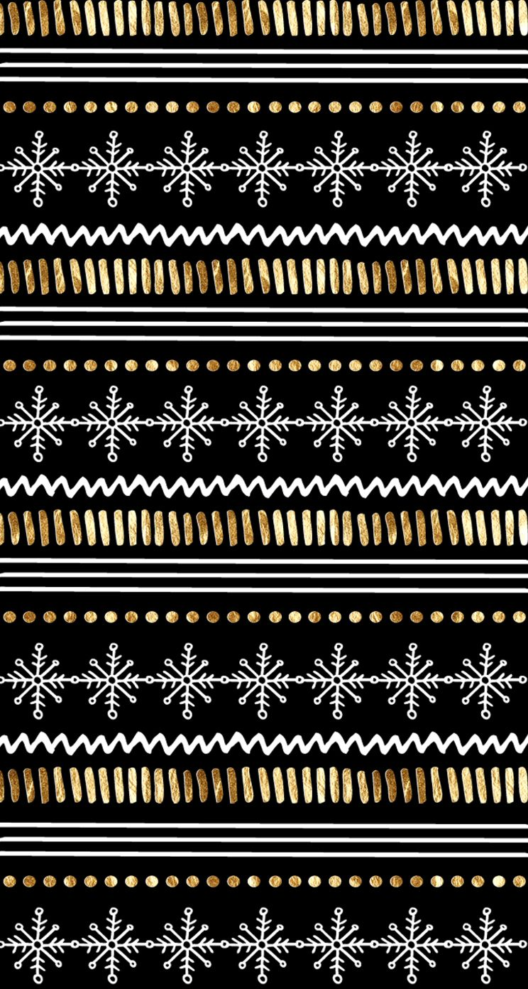 Black gold snowflakes pattern iphone wallpaper phone background lock screen