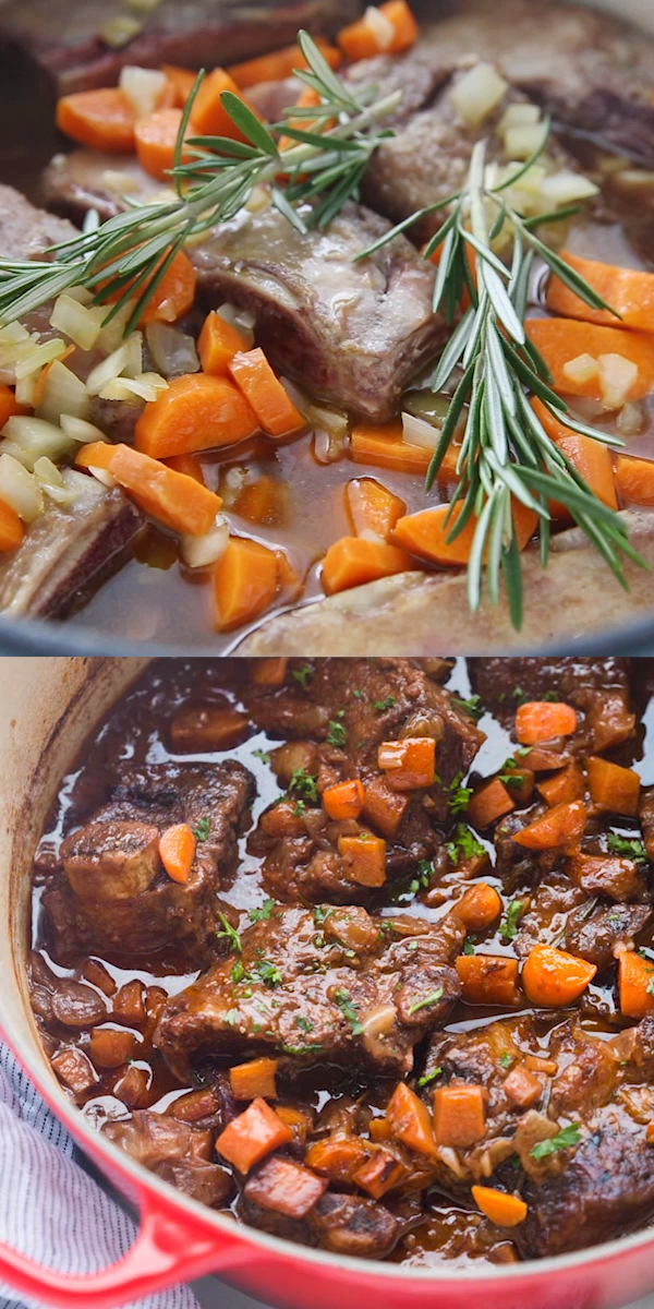 Fall-off-the-bone Braised Short Ribs are unbelievably easy to make, cooked in just one pot in a delicious rich sauce made with red wine, carrots, celery, and fresh herbs.