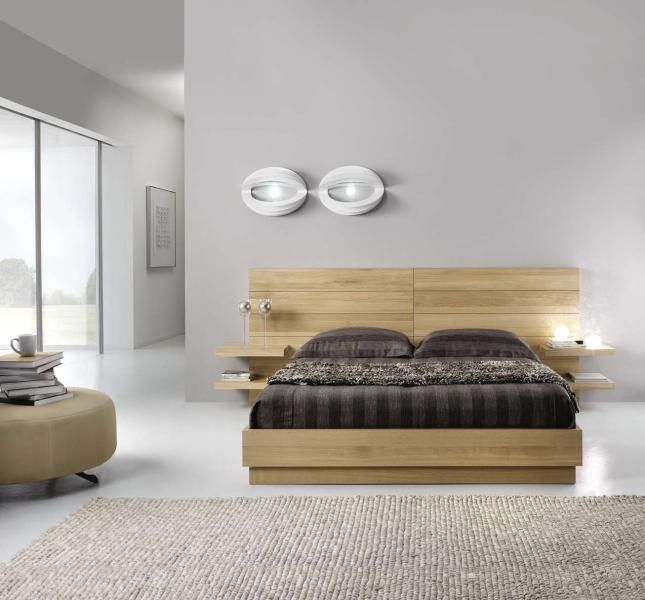 Testiera letto rivestita in legno parquet arredo oak double bed oak beds e bed - Testate letto moderne ...