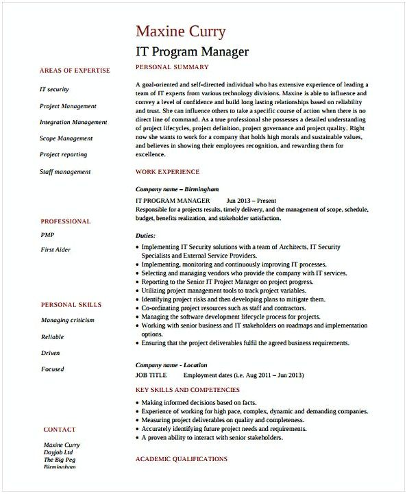 It Security Resume It Program Manager Resume  It Operations Manager Resume  Do You .