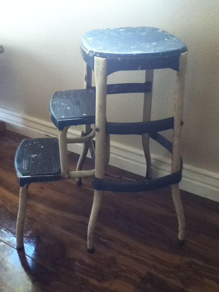 kitchen step composter cosco metal blue stool chair ladder industrial age seat vintage kind of like the shabby look this one