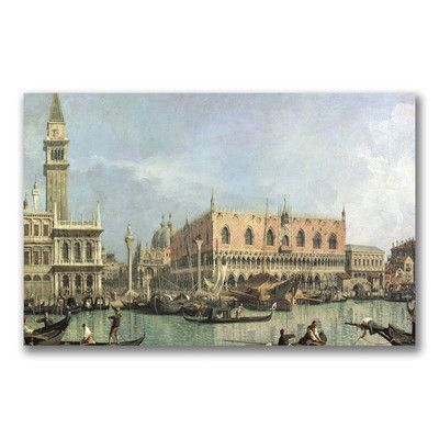 """Trademark Art """"The Molo and the Piazzetta"""" by Canaletto Painting Print on Wrapped Canvas Size: 14"""" H x 24"""" W x 2"""" D"""