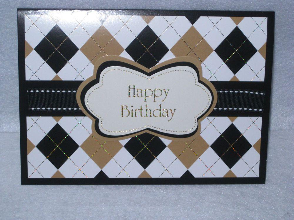 Burgoyne Handmade Argyle Birthday Greeting Card New Handmade