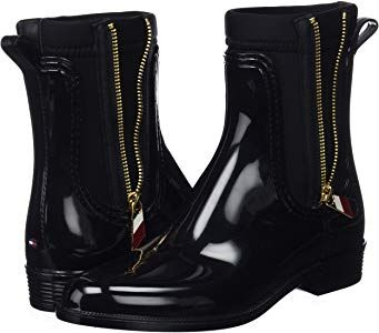 Tommy Hilfiger Women s Material Mix Rain Boot Wellington (Black 990 ... 89a8838cf2
