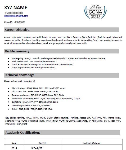 CCNA Resume Samples Top 5 CCNA Resume Templates in .Doc