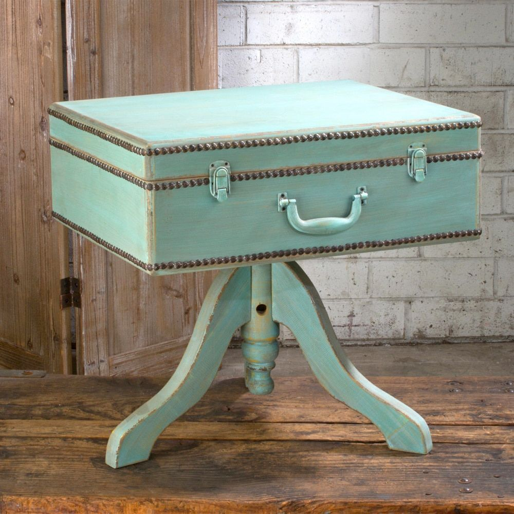 International Teal Blue Wood Vintage Suitcase Table H X - Beautiful retro modern chairs made old suitcases