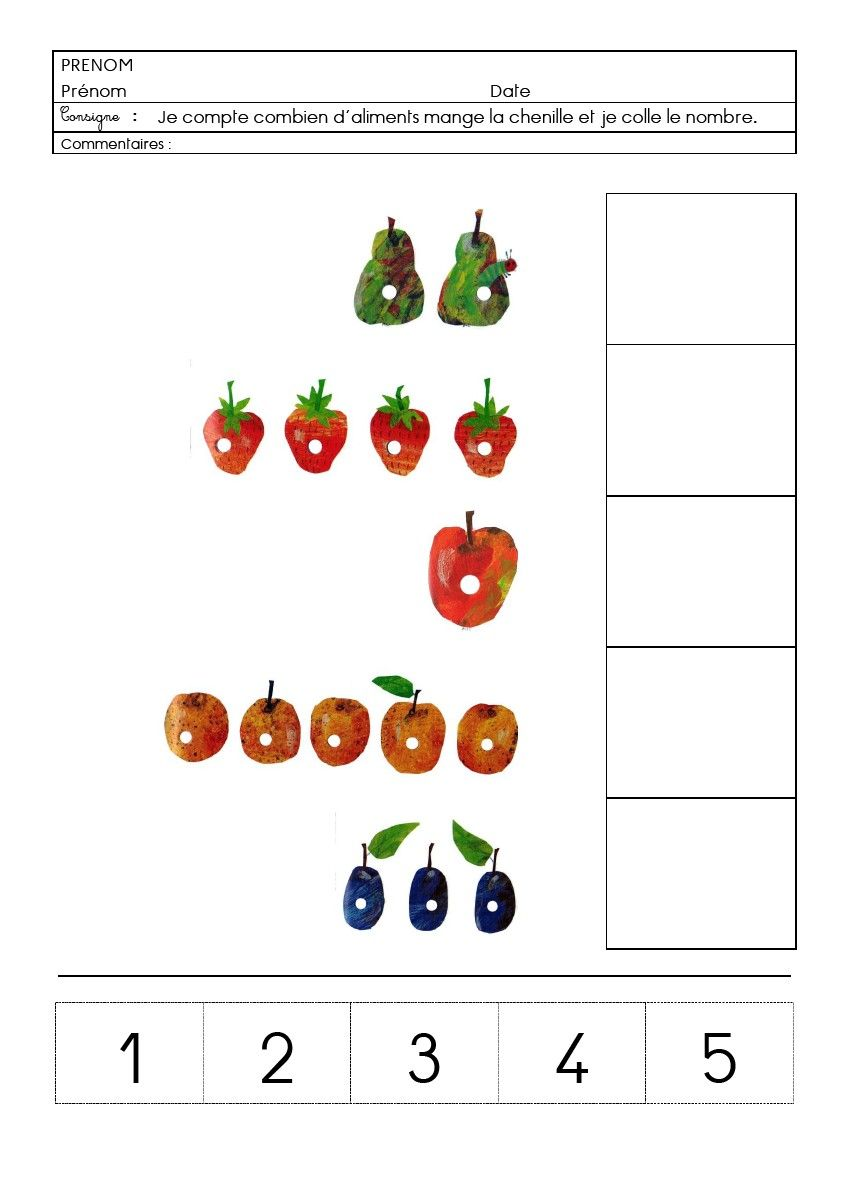 F 13 chenille fichiers partag s atelier maths very hungry - Pomme papillon ...