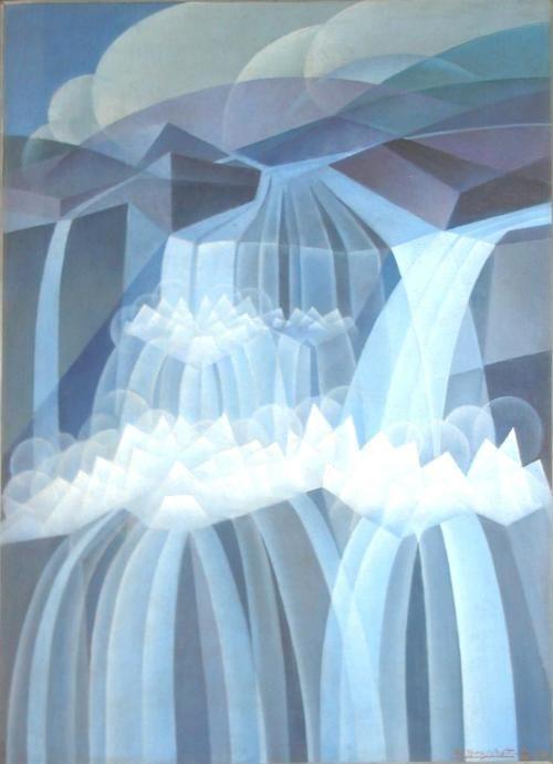 Alessandro Bruschetti (Italian, 1910-1980), Ritmi di cascate [Rhythms of waterfalls], 1932. Oil on panel, 65 x 50cm.