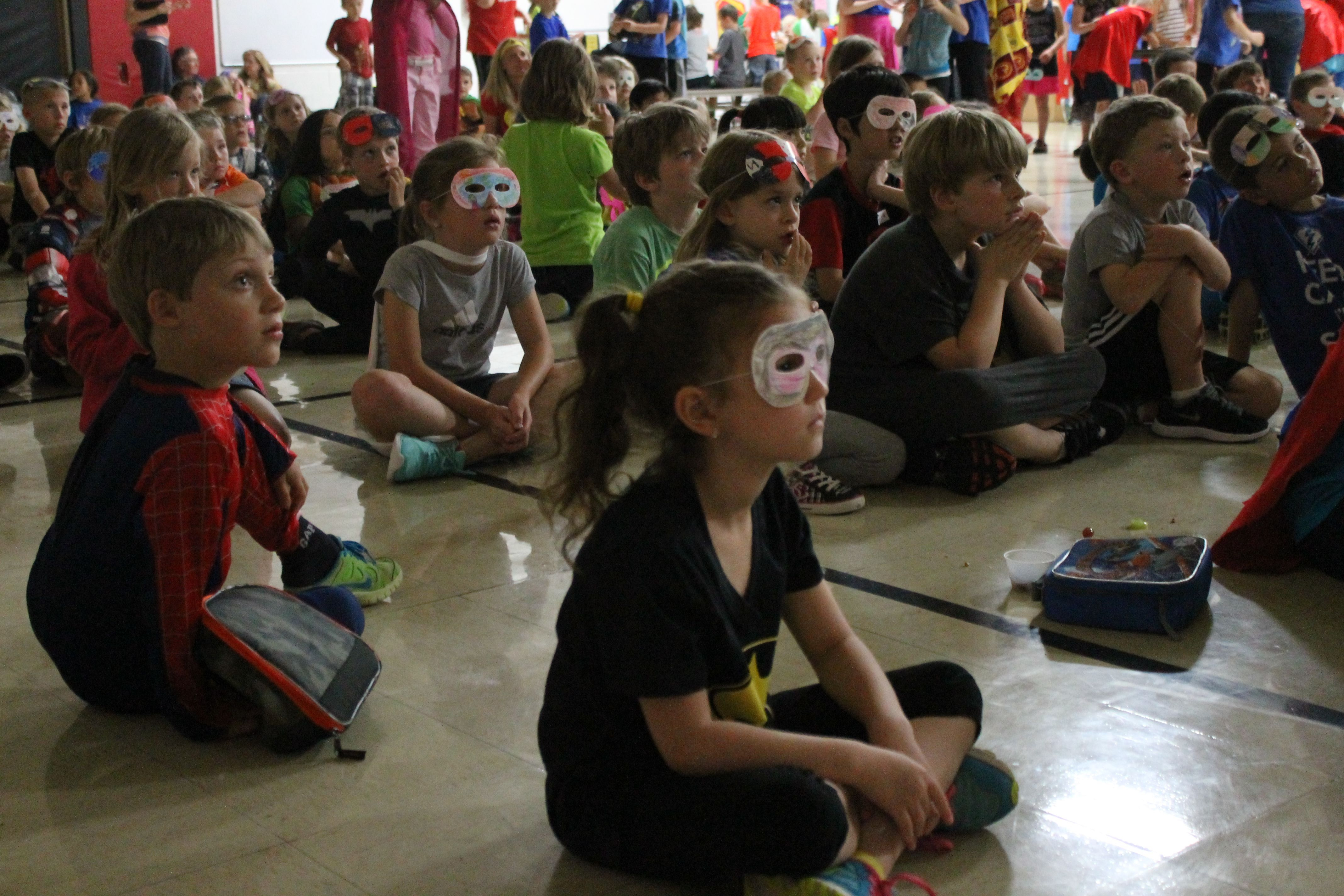 Students At Gilbert Elementary School Watch A Movie During