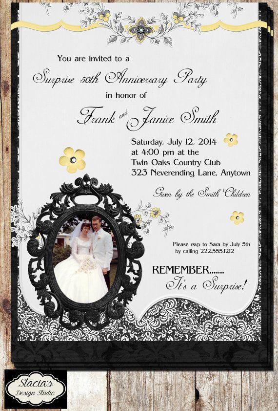 50th Wedding Anniversary Photo Party Invitation Black
