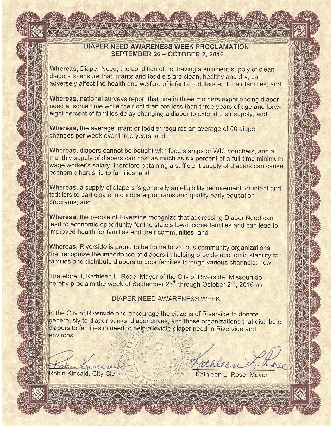 RIVERSIDE, MO - Mayoral proclamation recognizing Diaper Need Awareness Week (Sep. 26-Oct. 2, 2016) #DiaperNeed Diaperneed.org