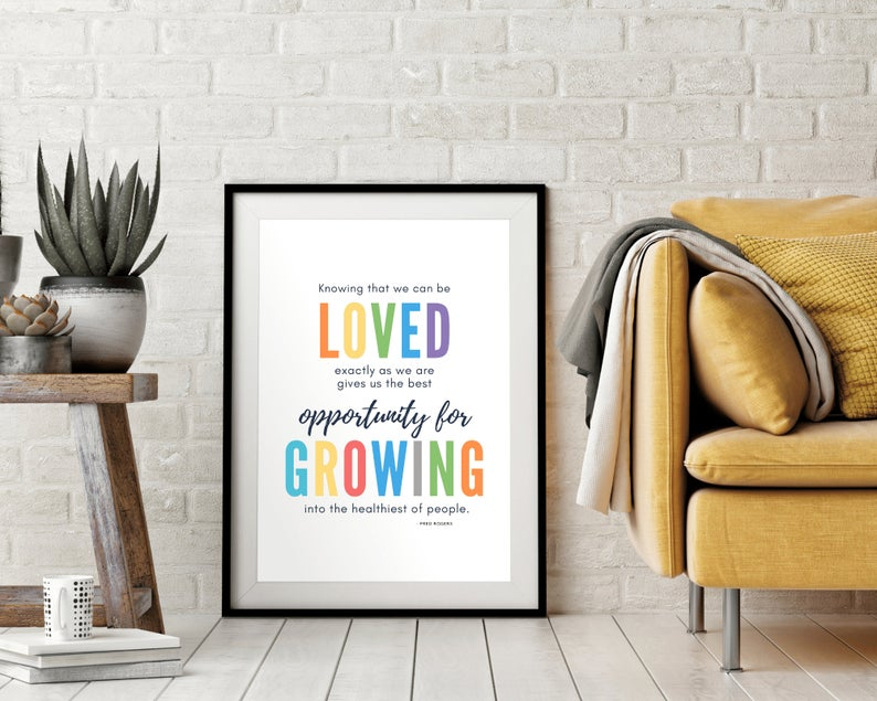 Mr Rogers Quote Kids Colorful Nursery Printable Wall Decor Etsy Inspirational Prints Printable Wall Art Education Poster