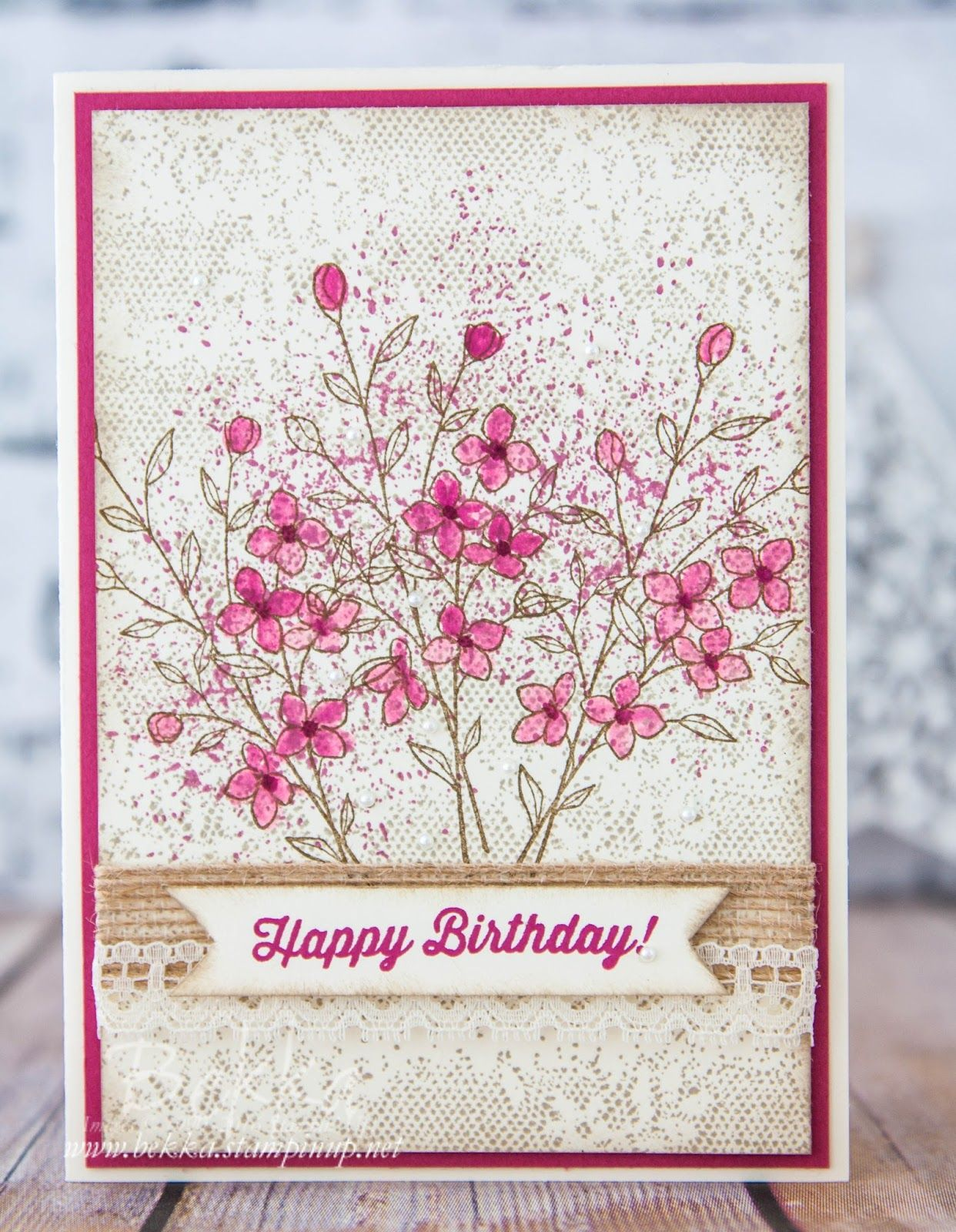 Vintage birthday flowers on a lace background made with stamps from flower cards izmirmasajfo