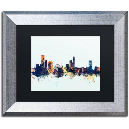 Trademark Fine Art Birmingham Skyline Blue Canvas Art by Michael Tompsett, Black Matte, Silver Frame, Size: 16 x 20, Multicolor