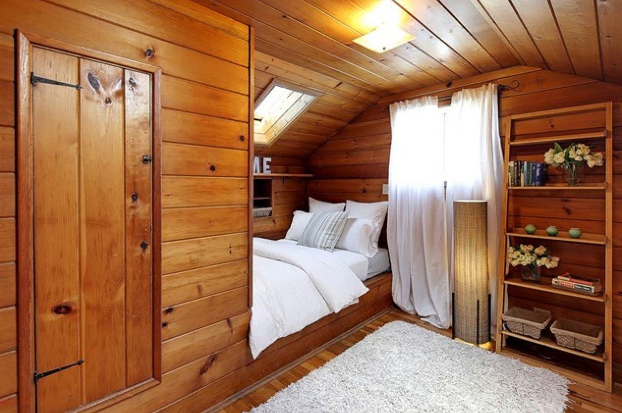 knotty pine cabin room builtin bed attic bedroom Cabin
