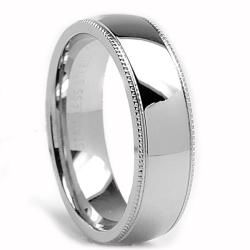 Oliveti Stainless Steel Clic Dome Millegrained Wedding Band Ring 6 Mm