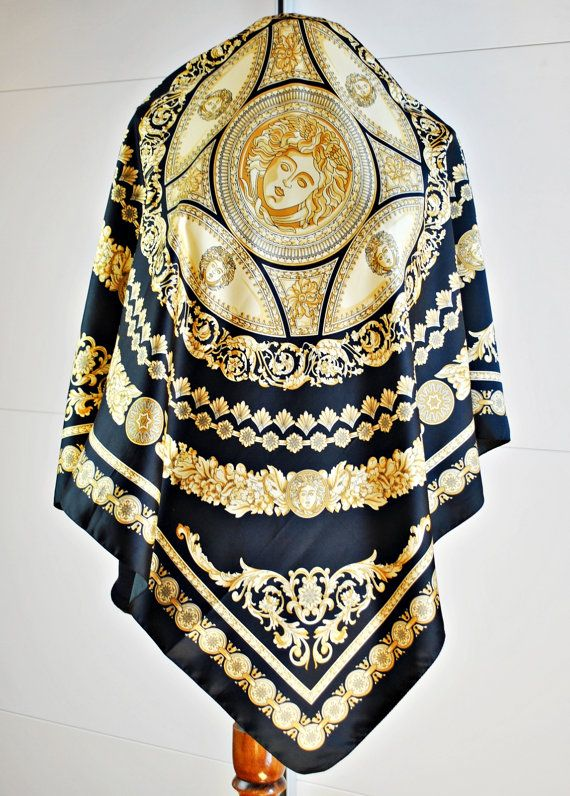 Vintage BAROQUE Square Scarf / Golden Crest / Black / Versace style / Italian scarf