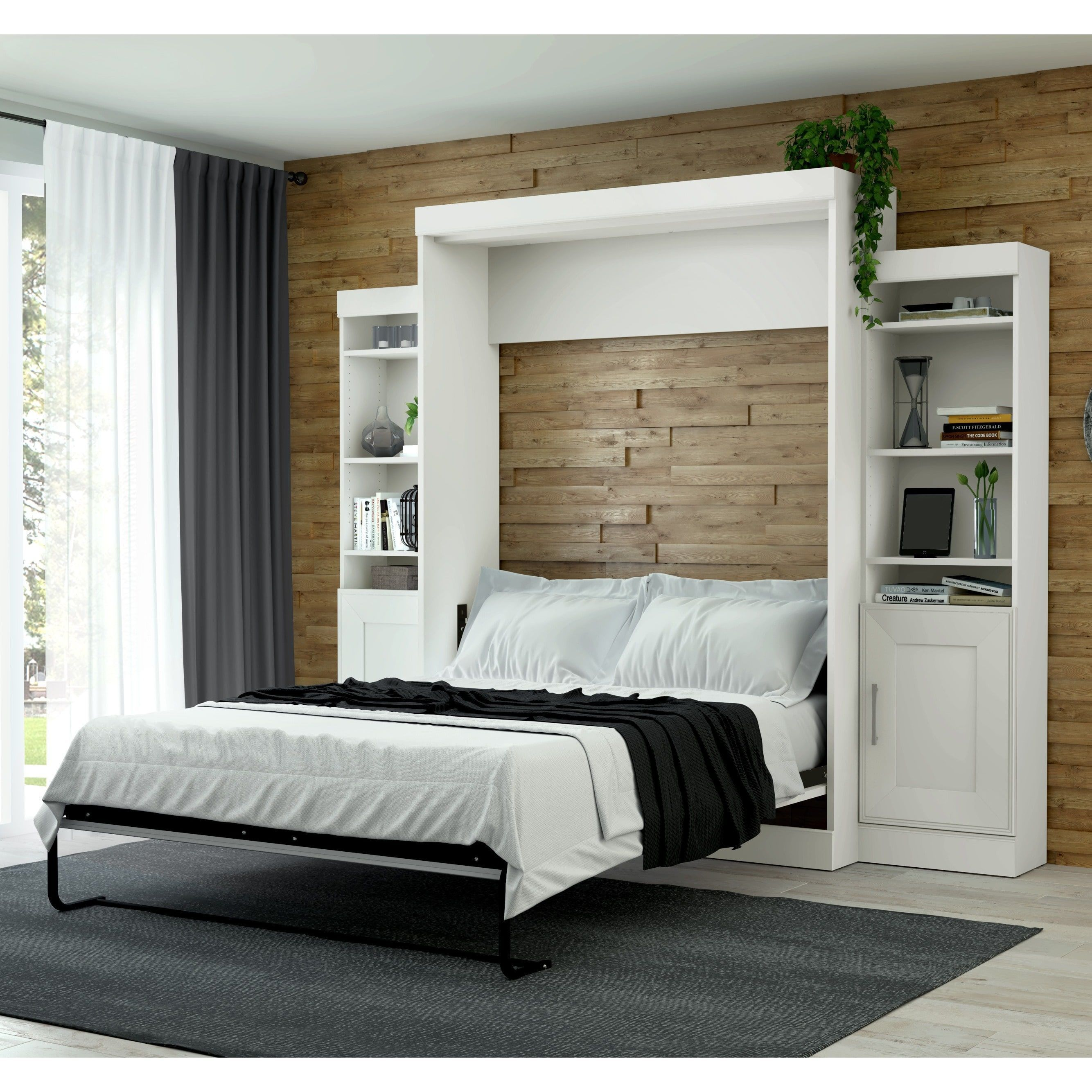 edge by bestar queen wall bed with two 21 inch storage on wall beds id=80109