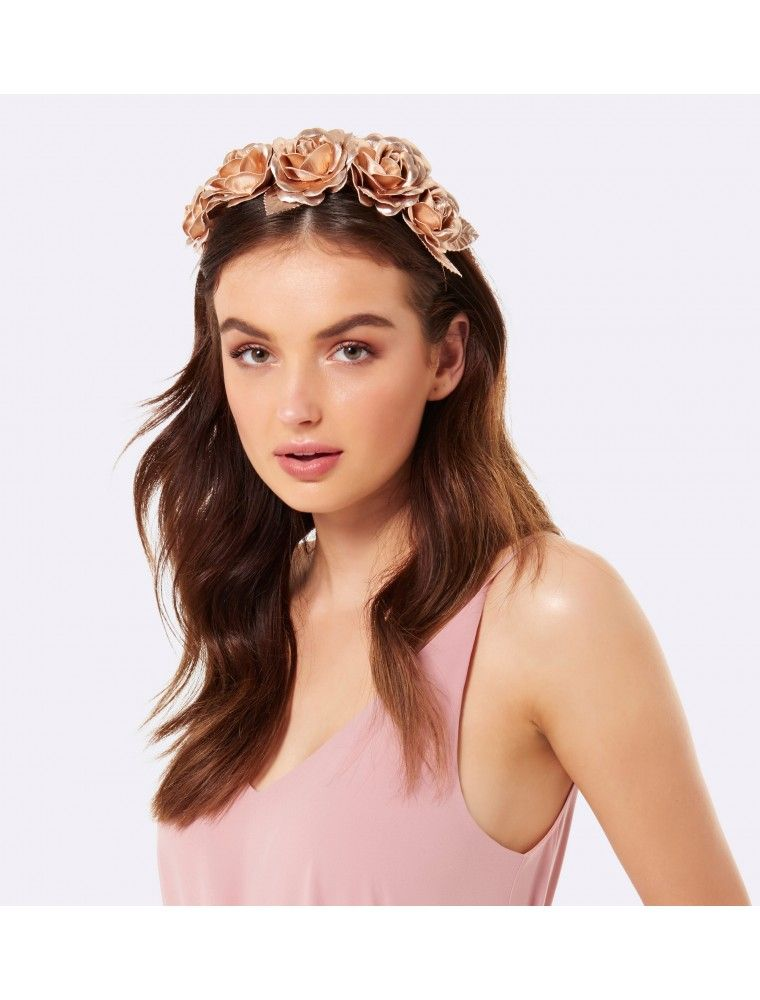Sonya Flower Crown Fascinator Rose Gold - Womens Fashion  3e960ea99cd