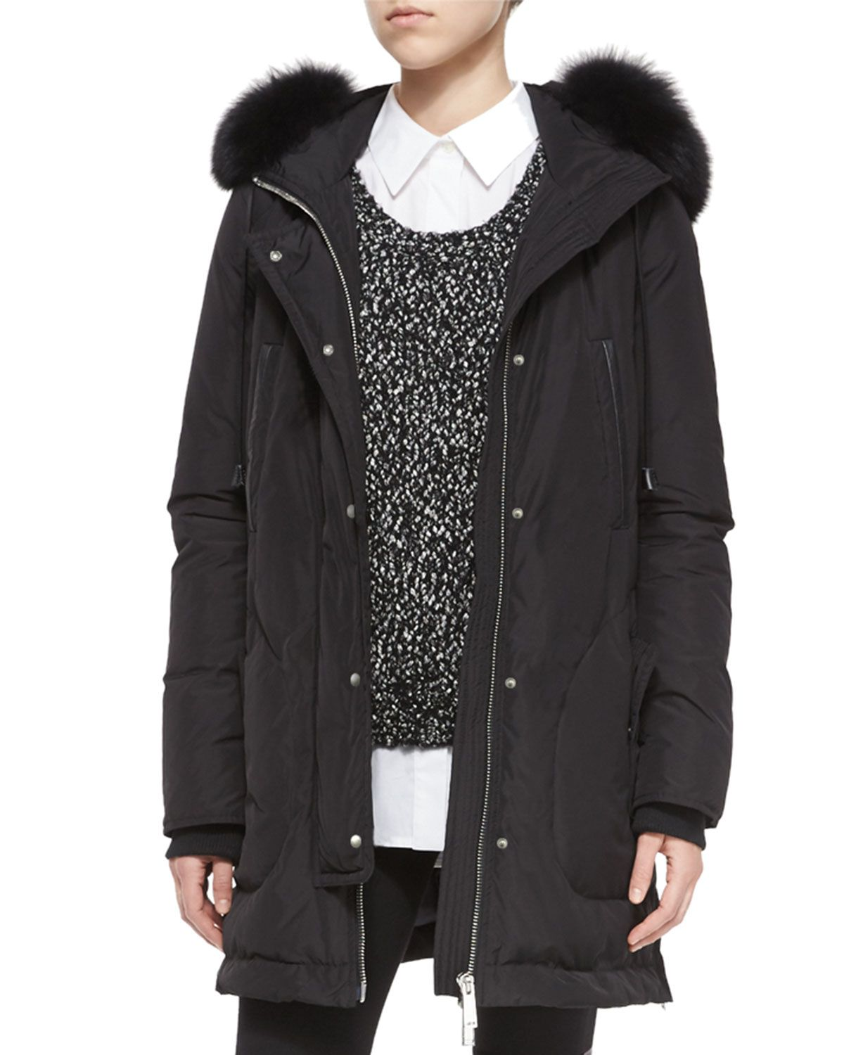 84cc704c57e3 Fox Fur-Trimmed Hooded Parka Jacket