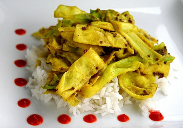 cabbage w/coconut. mustard seed. curry
