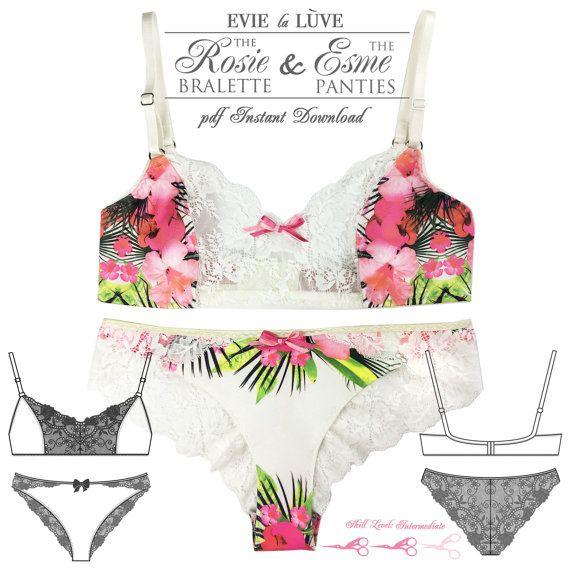DIGITAL Lingerie Sewing Pattern - Esme Panties & Rosie Bra - pdf ...