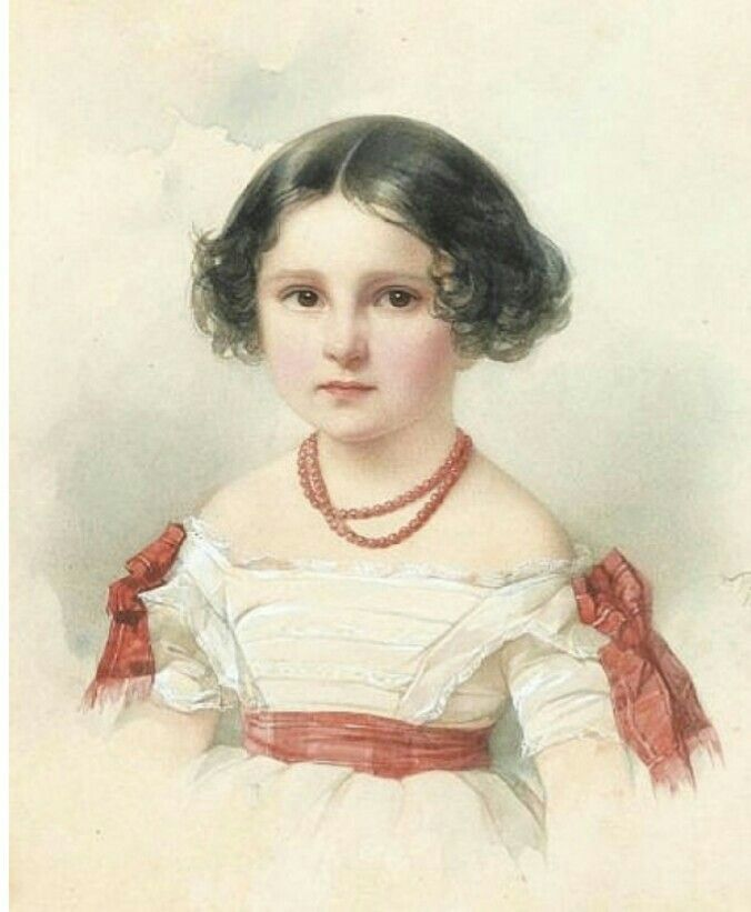 Watercolor miniature portrait by Russian artist Vladimir Hau. Акварель В. И. Гау