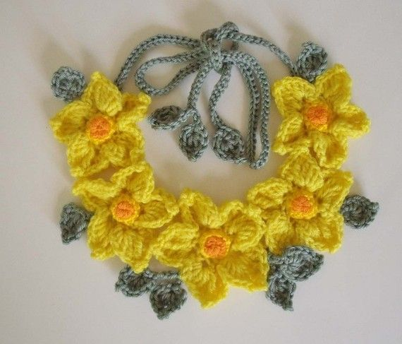 Pdf Pattern Free Form Crochet Necklace Yellow Flowers No 4 Form