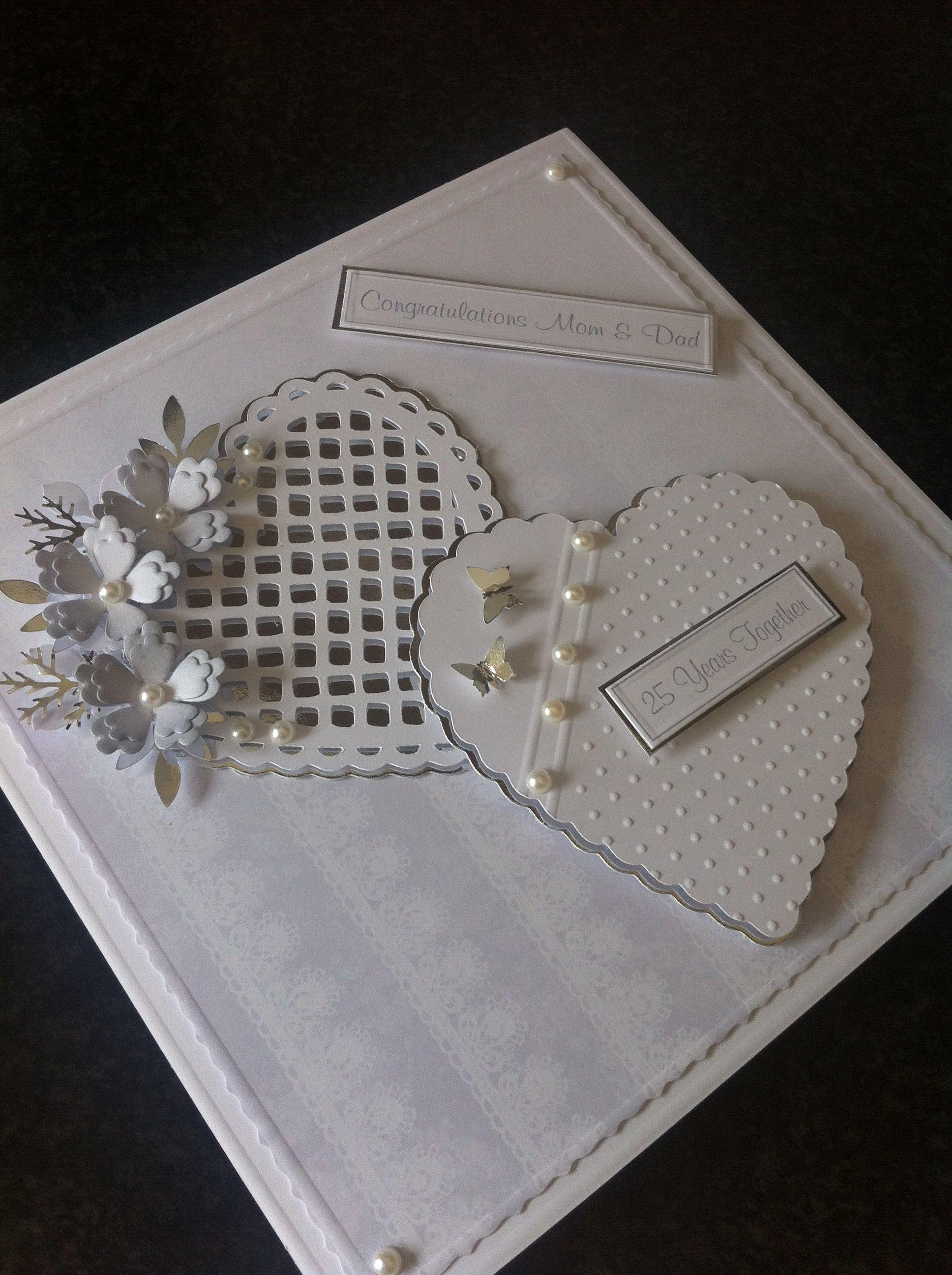 Handmade silver anniversary card