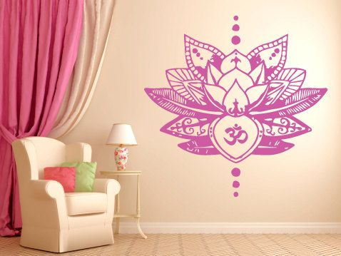 Wall Decal Sticker Bedroom Lotus Flower Om Symbol Beautiful Yoga - Yoga studio wall decals