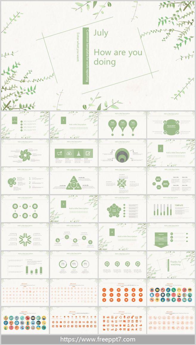 Green Leaf Background PowerPoint Template_Best PowerPoint ...