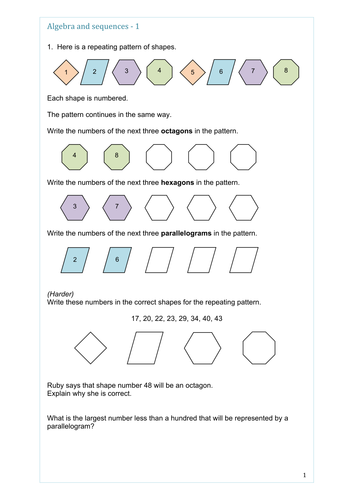 maths ks2 or ks3 algebra sequences through patterns and shape simple through to stretching q. Black Bedroom Furniture Sets. Home Design Ideas