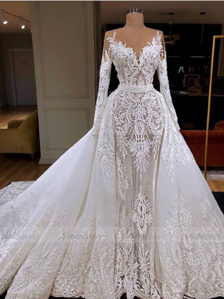 Vintage Long Sleeve Luxury Lace Wedding Dresses With Removable Skirt Vw1289 Bridal Gowns Mermaid Long Sleeve Wedding Dress Lace Lace Applique Wedding Dress [ 1024 x 768 Pixel ]