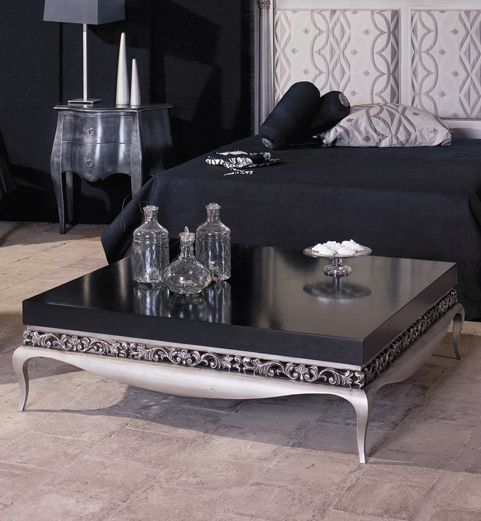 Modern Glamour Luxus Black And Silver Coffee Table Shown