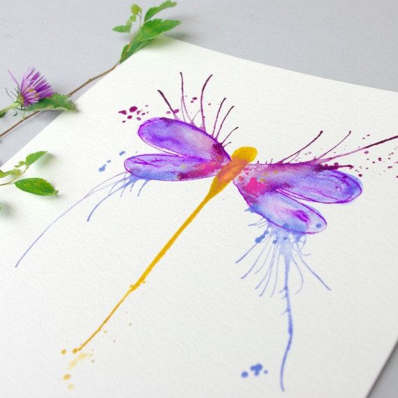 Hey, I found this really awesome Etsy listing at https://www.etsy.com/listing/159753575/original-dragonfly-art-painting-purple
