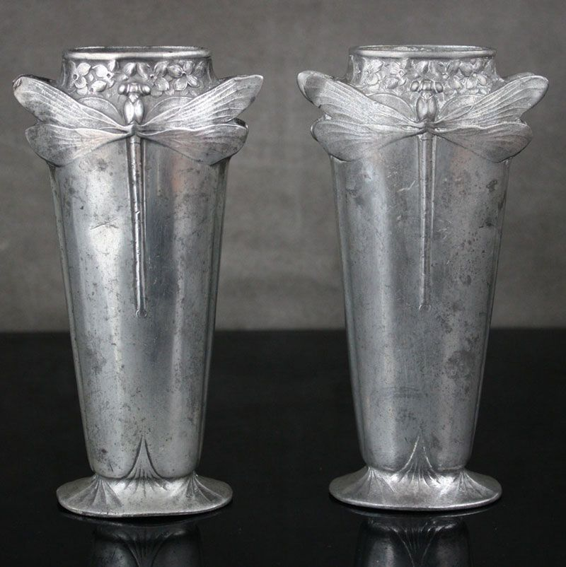 Christofle pewter Dragonfly vases in the art nouveau style the styling and decoration typical of the period 1900.