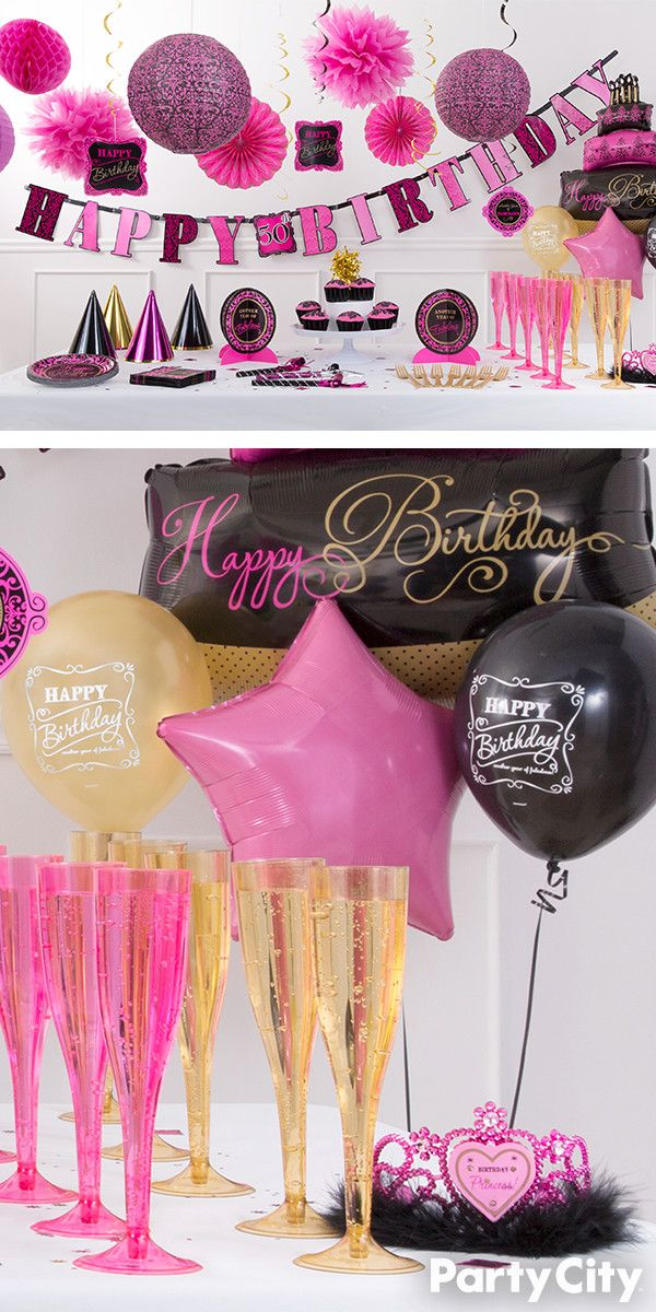 This Damask Party Theme Is For The Trendsetter Of Your Friend Group Set Scene Birthday Celebration In Shades Gold Pink And Black