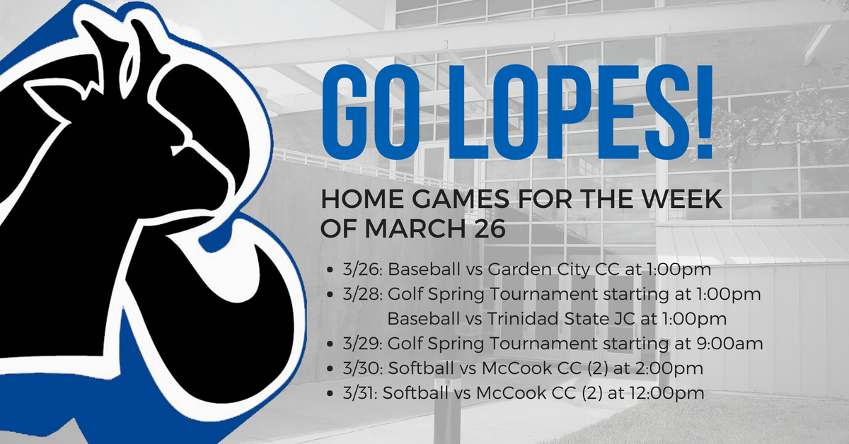 This Week In Lopes Athletics Starts Today With Lopes Baseball Taking On Garden City Community College At Womens Basketball Western Nebraska Northwest College