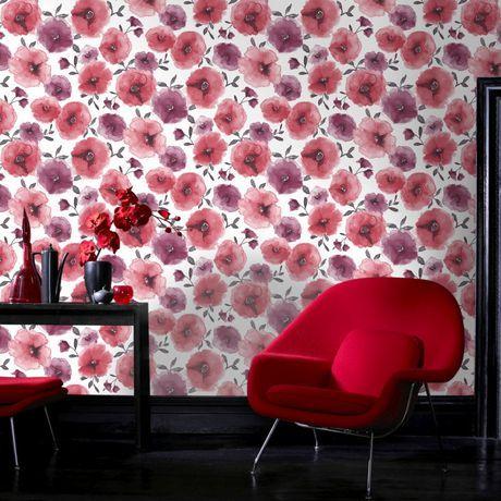 Graham Brown Poppies Wallpaper Walmart Ca Red Wallpaper Poppy Wallpaper Red Poppies