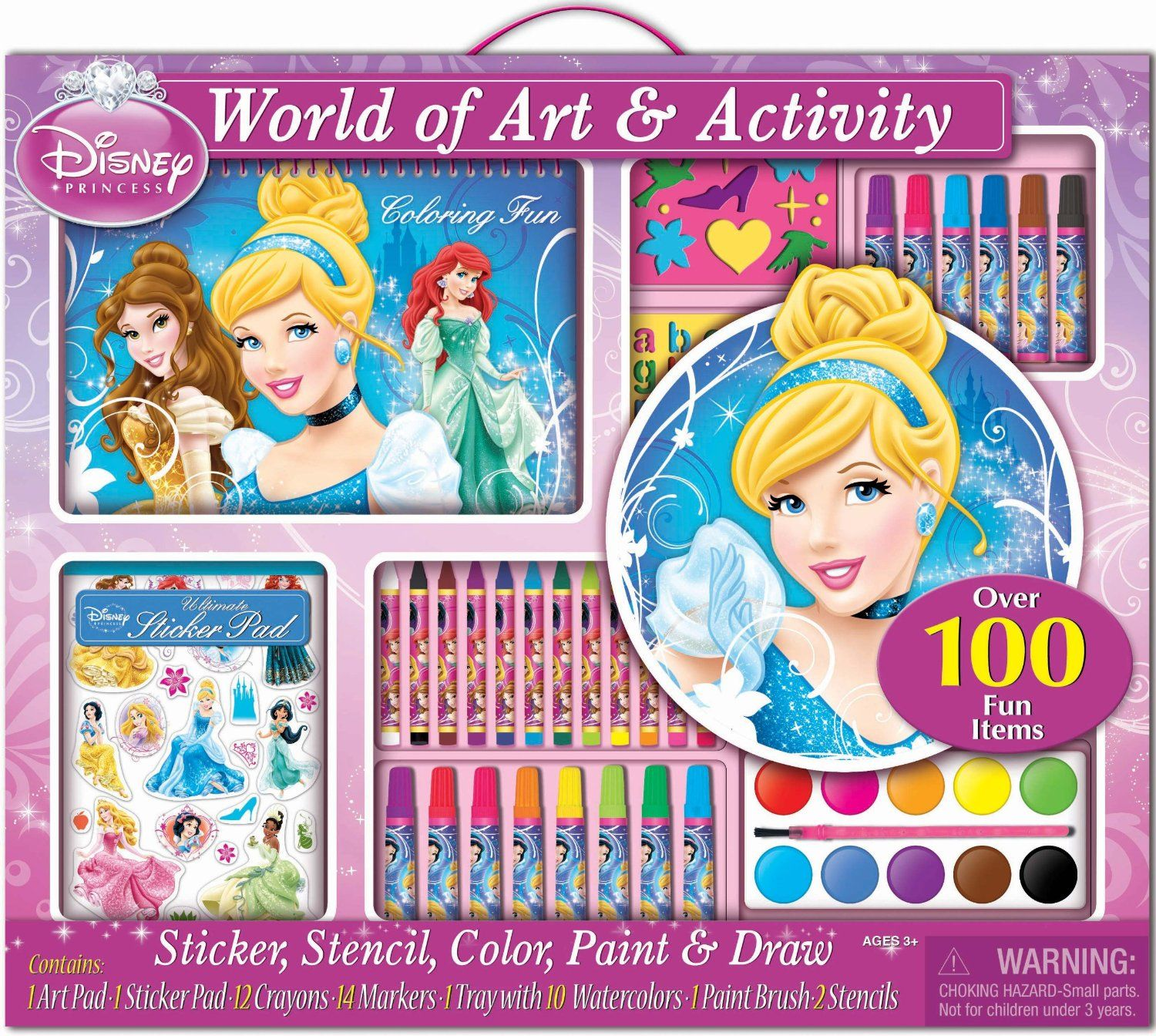 Disney Palace Pets Play Pack Colouring Pads Pencils Childrens Activity Set Girls