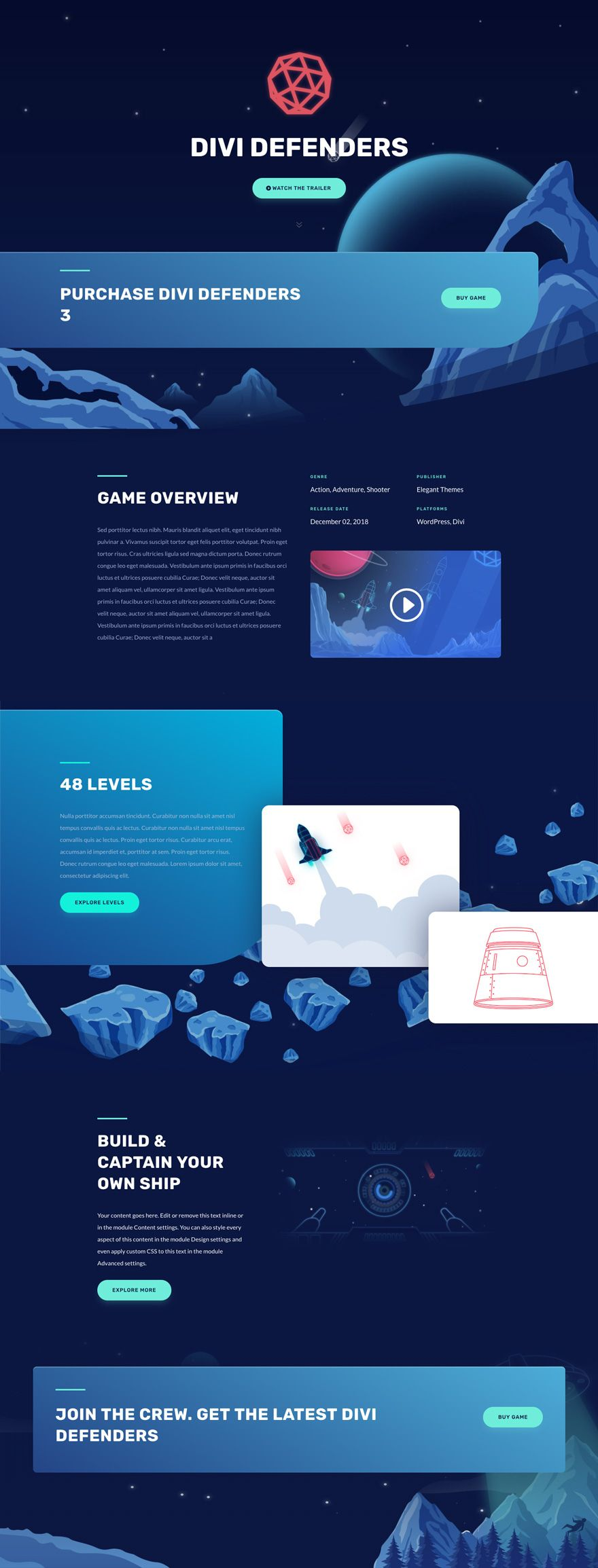[click to see other pages] The Video Game Layout Pack is ready to take your gaming website to the next level. It includes amazing illustrations, a dark color palette and some of Divi's finest design combinations. In other words; this layout pack will undeniably do justice to any website you decide to create. Creative Bright Gradient One Page Web Design Inspiration | Free Layout for Video Game Website Wordpress WP Template  #webdesign #layout #website #ui #websitedesign #wordpress #wordpresstheme